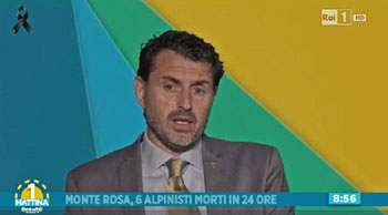 Antonio Montani interviene per il Club Alpino Italiano a RAI 1 mattina estate in tema di frequentazione e sicurezza in montagna